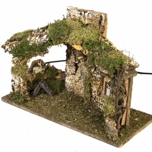 Nativity setting, cork stable 28x42x18cm s2