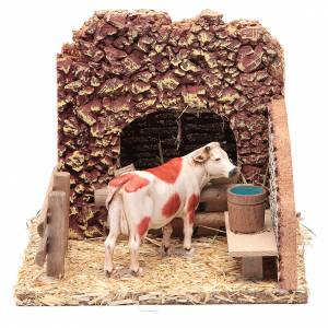 Settings, houses, workshops, wells: Nativity setting, cow in the stable