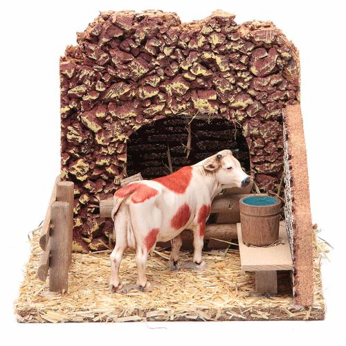 Nativity setting, cow in the stable s1