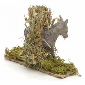 Nativity setting, donkey with bundles 11x14x4cm s2