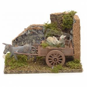 Nativity setting, donkey with rabbits cart 10x14x9cm s1