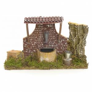 Nativity setting, fountain in wood and cork 10x21x13cm s1