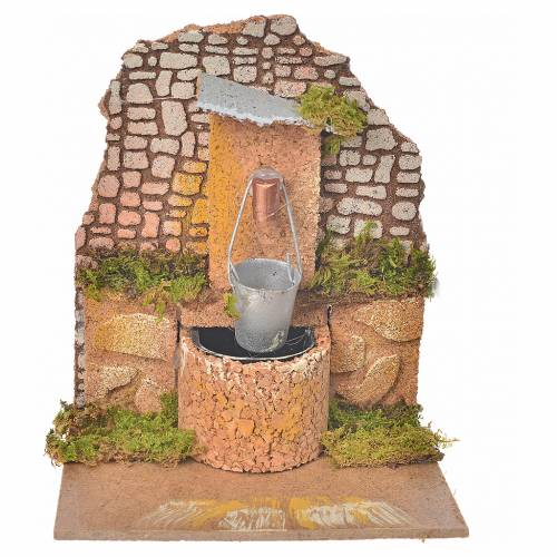 Nativity setting, fountain with bucket and pump 14x12x14cm s1