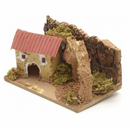 Nativity setting, house with arch 10x6cm s2