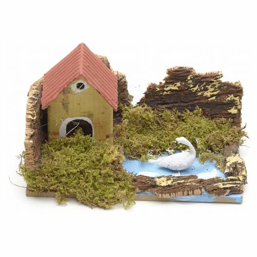 Nativity setting, house with lake 10x6cm s1