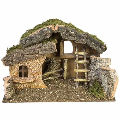 Nativity setting, stable with ladder and barn 30x50x24cm s1