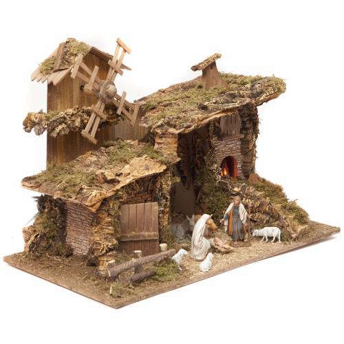 Nativity setting, stable with mill and fire 38x58x28cm s2