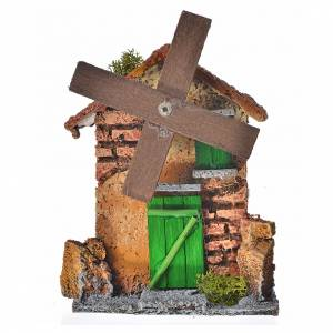 Watermills and windmills: Nativity setting, wind mill made of wood and cork 12x10x6cm