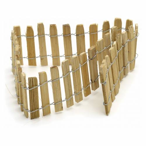 Nativity setting, wooden fence, 40cm long s1