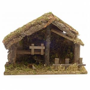 Nativity stable in cork with moss and barn 26x35x20cm s1