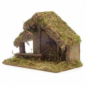 Nativity stable in cork with moss and manger 26x35x20cm s3