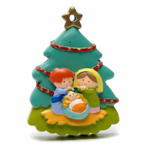 Christmas tree ornaments in wood and pvc: Nativity tree shaped decoration 8 cm