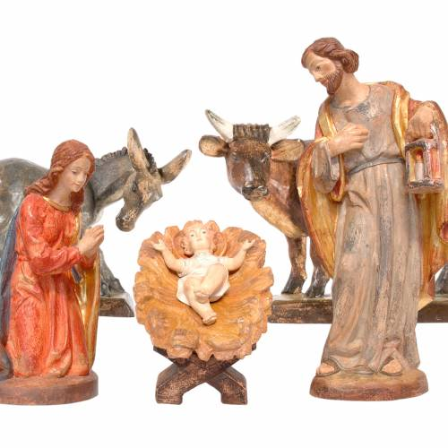 Nativity with ox and donkey in Valgardena wood, Old antique gold s1