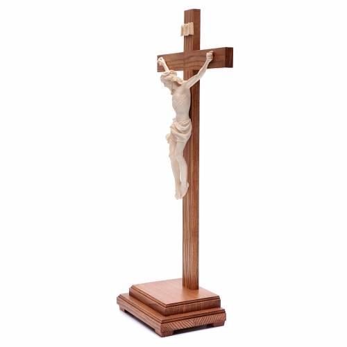 Natural wax table crucifix, Corpus model in Valgardena wood s2