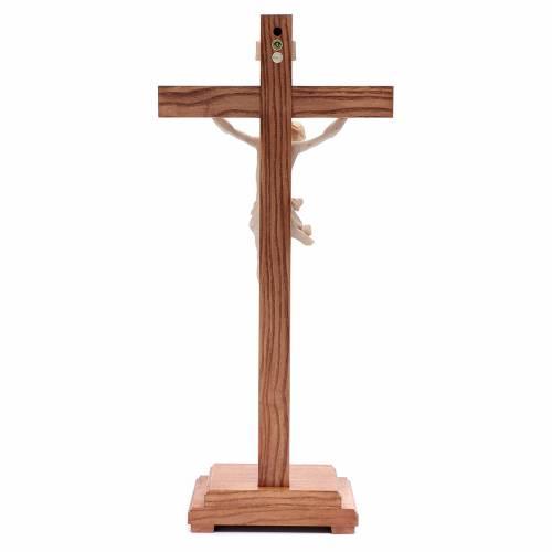 Natural wax table crucifix, Corpus model in Valgardena wood s4