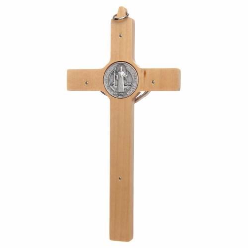 Natural wood Saint Benedict cross s2