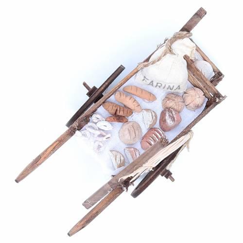 Neapolitan Nativity accessory, bread and cheese cart, terracotta s8