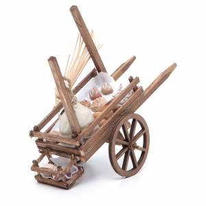Neapolitan Nativity accessory, bread and cheese cart, terracotta s2