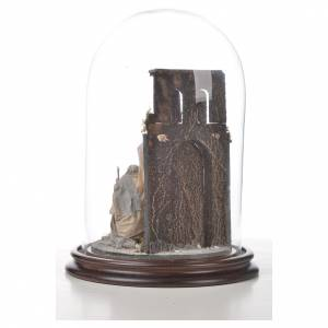 Neapolitan Nativity, Arabian style in glass dome 20x30cm s6