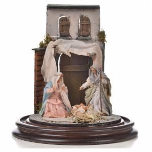 Neapolitan Nativity, Arabian style in glass dome 20x30cm s2