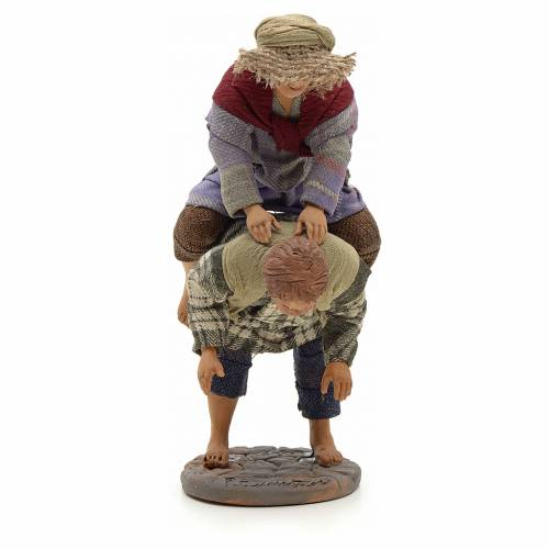 Neapolitan Nativity figurine, kids playing, 24 cm s1