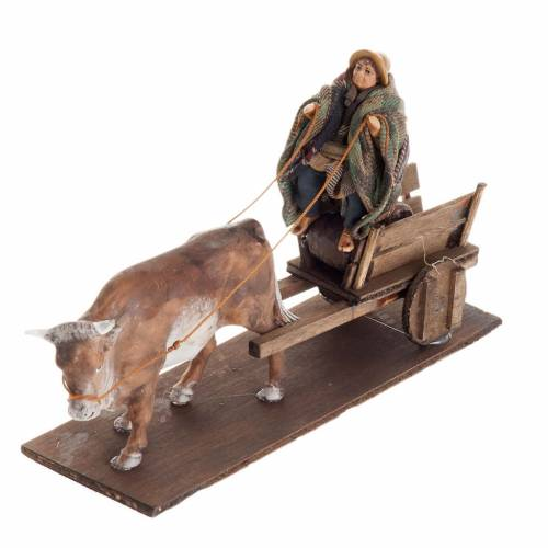 Neapolitan Nativity figurine, Man with cart and ox 8cm s4