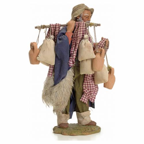 Neapolitan Nativity figurine, man with cloth bags, 24 cm s4
