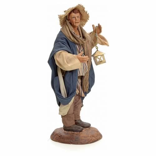 Neapolitan Nativity figurine, man with lantern, 18 cm s2