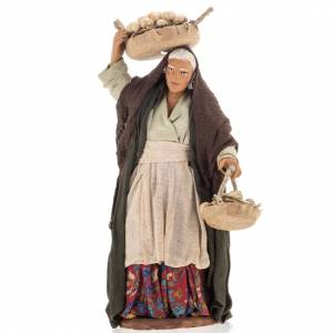 Neapolitan Nativity figurine, old woman with eggs, 14 cm s1