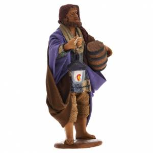 Neapolitan Nativity figurine, sheperd barrel and lantern, 14 cm s2