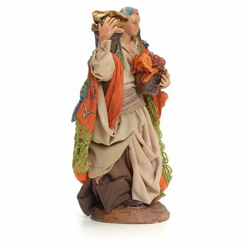 Neapolitan Nativity figurine, woman with cloth baskets, 18 cm s2