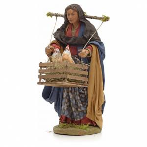 Neapolitan Nativity figurine, woman with hen cage, 24 cm s2