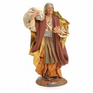 Neapolitan Nativity figurine, woman with sack, 18 cm s1