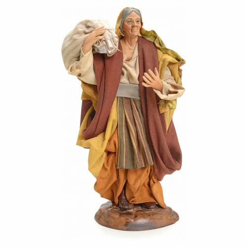 Neapolitan Nativity figurine, woman with sack, 18 cm 1