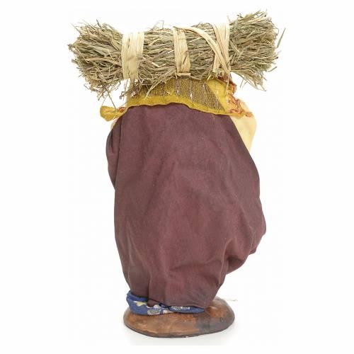 Neapolitan Nativity figurine, woman with straw bundle, 18 cm s3