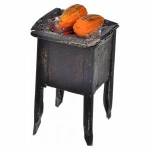 Neapolitan Nativity scene accessory, stove with corn 5x2,5cm s2
