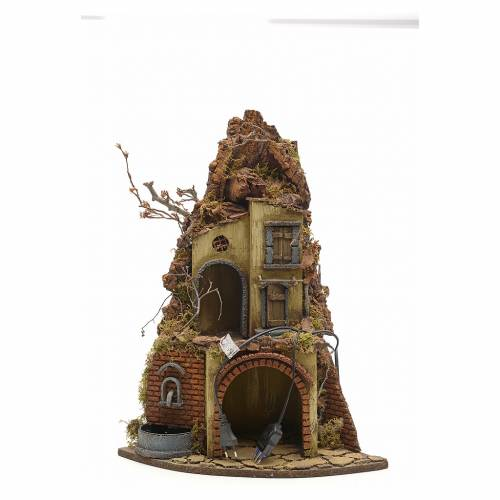 Neapolitan Nativity scene, village with fountain and stall s4