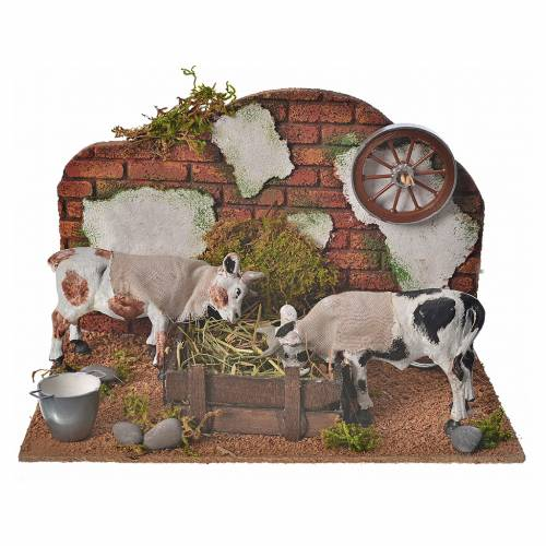 Neapolitan nativity setting, cows at the manger 10cm s1