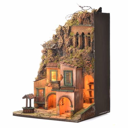 Neapolitan Nativity Village, 1700 style with fountain and well 60x50x42cm s3