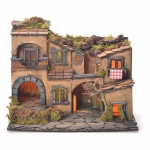 Neapolitan nativity, village 1700 style with grotto 45x35x33cm s1