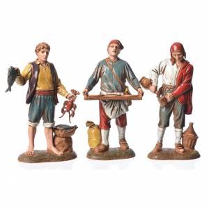 Neapolitan style characters, 3 nativity figurines, 6cm Moranduzzo s1