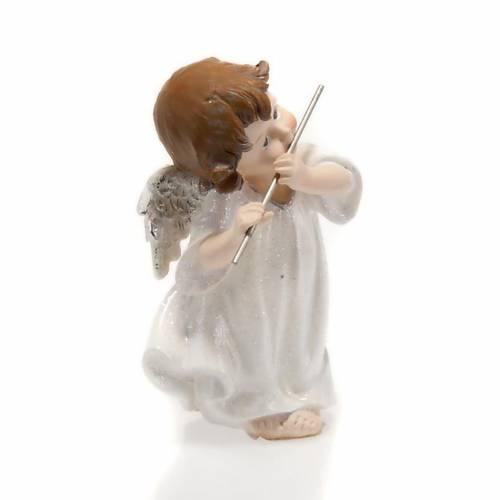 Ángel blanco con flauta travesera 14 cm. adorno de navida s2