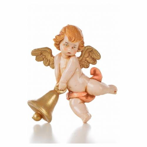 Ángel con campana rosada Fontanini 7 cm. símil porcelana s1