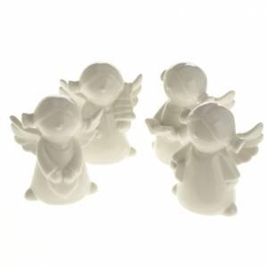 Ángeles en cerámica blanca, 4 unidades 11cm s1