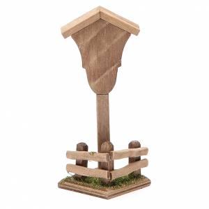 Nicchia legno Madonna per presepe h. 12x4,5x4,5 cm s2
