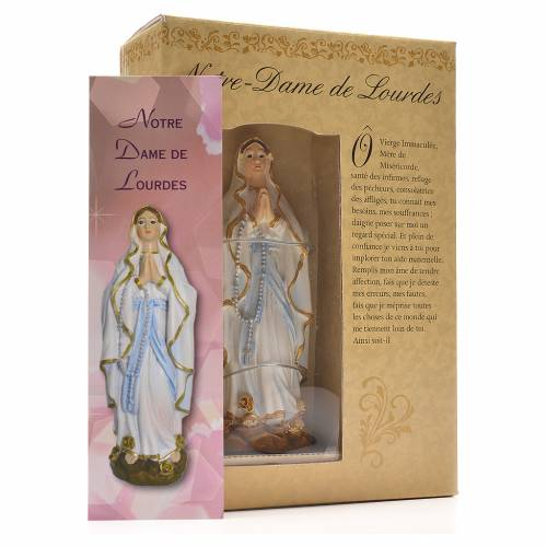 Nuestra Señora de Lourdes 12cm con imagen y oración en Francés s3