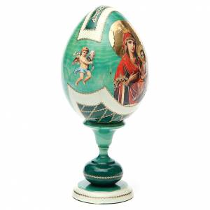 Oeuf découpage Russie Hodighitria Gorgoepikos h 20 cm style Fabergé s4