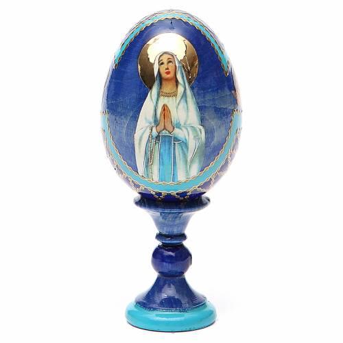 Oeuf russe découpage Notre-Dame de Lourdes h 13 cm style Fabergé s1