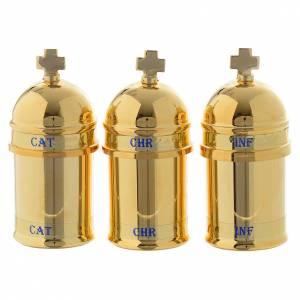 Oleje święte i akcesoria do chrztu: Oleje Święte: etui z 3 naczynkami wnętrze niebieskie