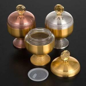 Oleje święte i akcesoria do chrztu: Oleje święte: naczynka satynowany mosiądz